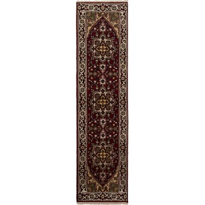 Larsen Hand-Knotted Dark Red Area Rug