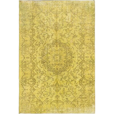 One-of-a-Kind Brockton Hand-Knotted Light Yellow Area Rug