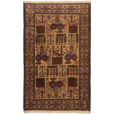 One-of-a-Kind Lang Hand-Knotted Beige Area Rug