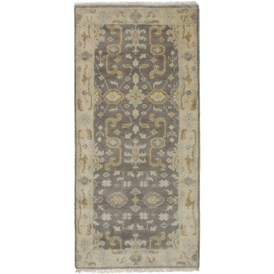 One-of-a-Kind Li Hand-Knotted Runner Dark Gray Area Rug