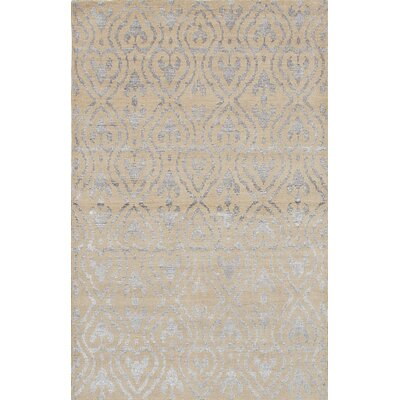 Poplin Hand-Knotted Beige Area Rug