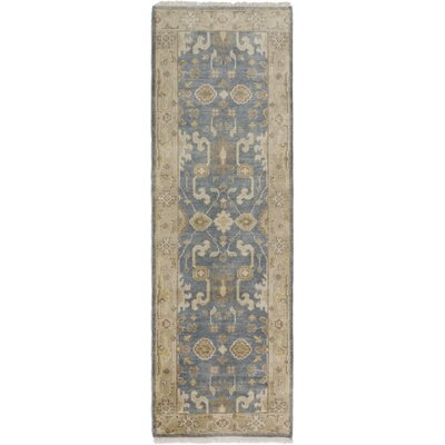 One-of-a-Kind Li Hand-Knotted Dark Blue Area Rug