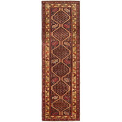 Bruton Hand-Knotted Black/Dark Red Area Rug