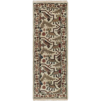 Larsen Hand-Knotted Cream Wool Area Rug