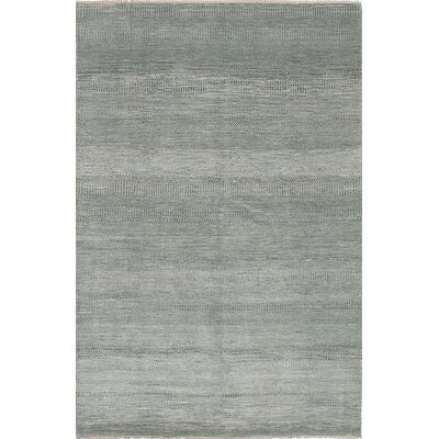 One-of-a-Kind Caxton Hand-Knotted Slate Blue Area Rug