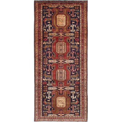Lin Traditional Hand-Knotted Dark Navy/Red Area Rug