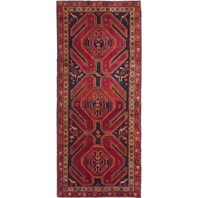 Holloway Hand-Knotted Dark Navy/Dark Red Area Rug