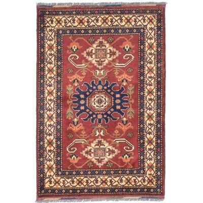 Bunkerville Hand-Knotted Dark Red Area Rug