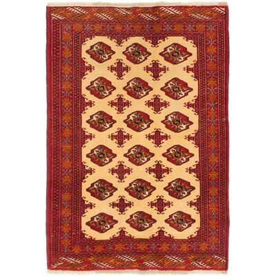 Rudel Hand-Knotted Cream/Dark Burgundy Area Rug
