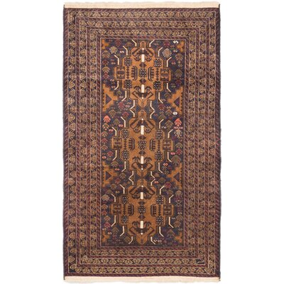 One-of-a-Kind Shaffer Hand-Knotted Dark Navy/Light Brown Area Rug