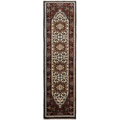 One-of-a-Kind Larsen Hand-Knotted Oriental Cream Area Rug