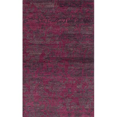 One-of-a-Kind Brewster Hand-Knotted Dark Magenta Area Rug