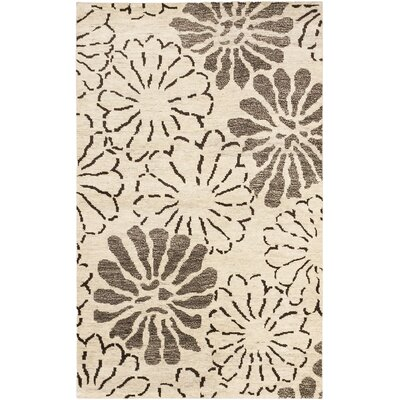 Dothan Hand-Knotted Cream/Dark Brown Area Rug