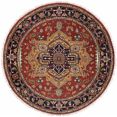 One-of-a-Kind Briggs Traditional Hand-Knotted Round Dark Burgundy Area Rug