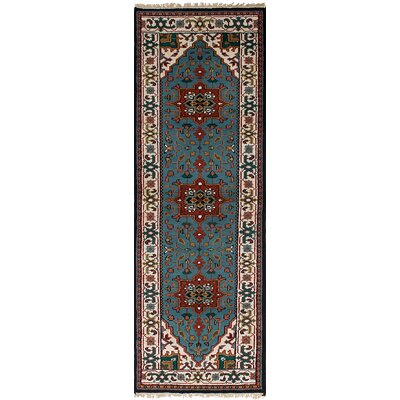 Royal Heriz Hand-Knotted Turquoise Area Rug