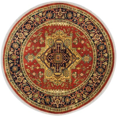 One-of-a-Kind Briggs Traditional Hand-Knotted Round Dark Copper Wool Area Rug