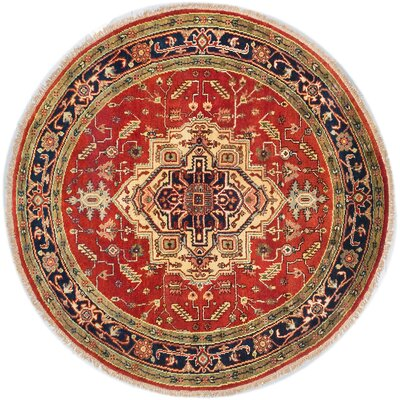 One-of-a-Kind Briggs Hand-Knotted Round Oriental Dark Copper Wool Area Rug