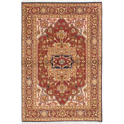 Briggs Hand-Knotted Dark Red Rectangle Area Rug