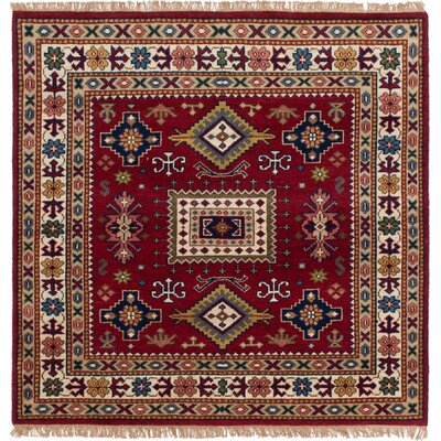 Royal Kazak Hand-Knotted Dark Red Area Rug