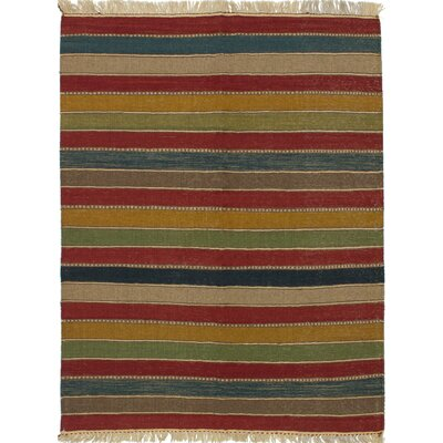 Gabbeh Hand-Woven Green/Red Area Rug