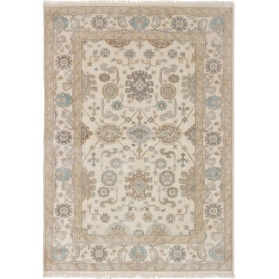 One-of-a-Kind Li Hand-Knotted Cream Area Rug Rug Size: 59 x 82
