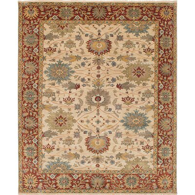 One-of-a-Kind Bassford Hand-Knotted Cream Area Rug