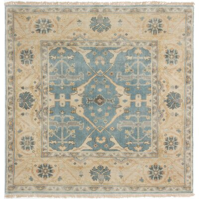 Li Hand-Knotted Turquoise Wool Area Rug