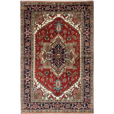 Briggs Hand-Knotted Dark Burgundy/Navy Blue Area Rug