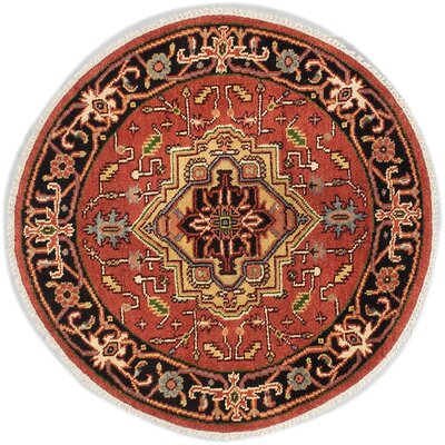 One-of-a-Kind Briggs Traditional Hand-Knotted Round Oriental Dark Copper Wool Area Rug