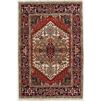 Briggs Traditional Hand-Knotted Cream/Red Area Rug