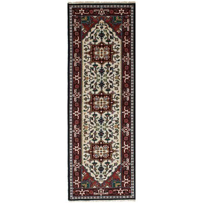 One-of-a-Kind Larsen Hand-Knotted Cream Area Rug