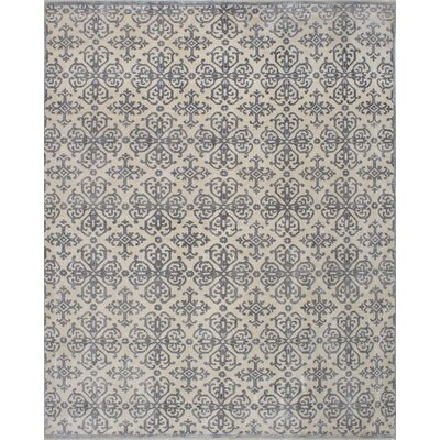 Jules Ushak Hand-Knotted Cream/Dark Gray Area Rug