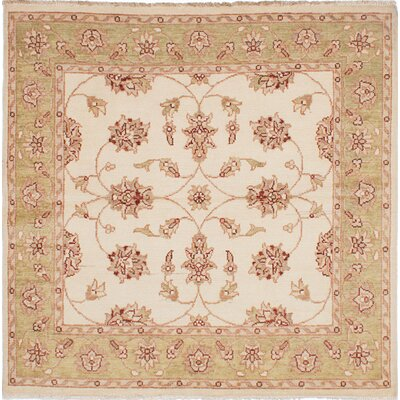 One-of-a-Kind Barrows Hand-Knotted Square Cream Area Rug