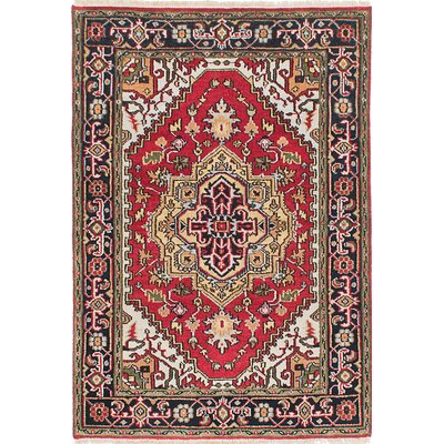 One-of-a-Kind Briggs Hand-Knotted Red Rectangle Area Rug
