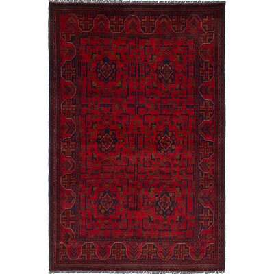 Bouldercombe Hand-Knotted Rectangle Red/Black Area Rug