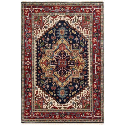 One-of-a-Kind Briggs Hand-Knotted Dark Navy/Red Area Rug