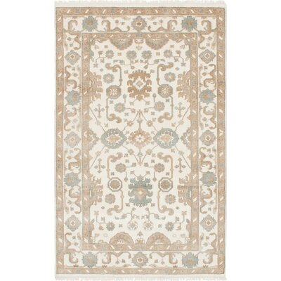 One-of-a-Kind Li Hand-Knotted Cream Wool Area Rug