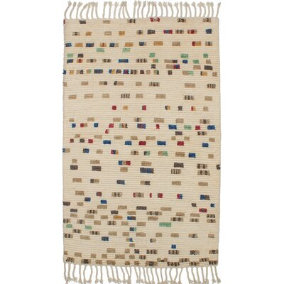 One-of-a-Kind Hendley Hand-Knotted Cream Area Rug
