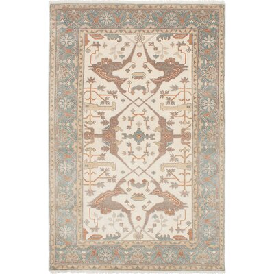 Li Hand-Knotted Rectangle Cream Wool Area Rug Rug Size: 52 x 710