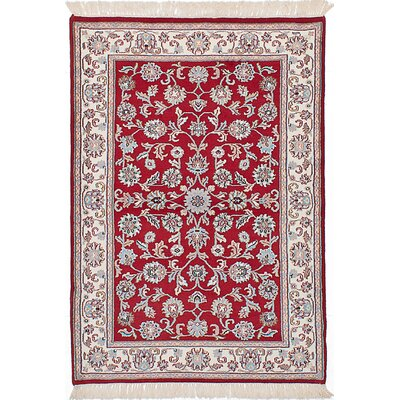 One-of-a-Kind Charline Hand-Knotted Red Area Rug