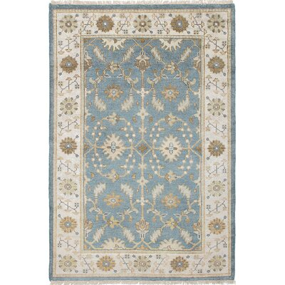 One-of-a-Kind Li Hand-Knotted Rectangle Sky Blue Area Rug