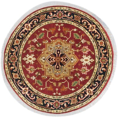 One-of-a-Kind Briggs Hand-Knotted Dark Orange Round Wool Area Rug