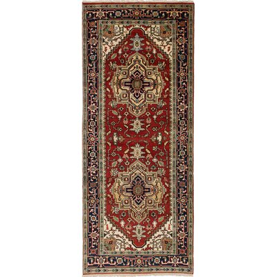 Briggs Hand-Knotted Red Rectangle Wool Area Rug
