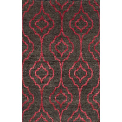 Houston Hand-Knotted Dark Gray/Pink Area Rug