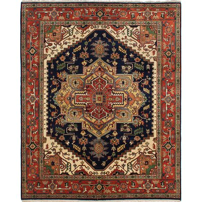 Serapi Heritage Hand-Knotted Dark Navy Area Rug
