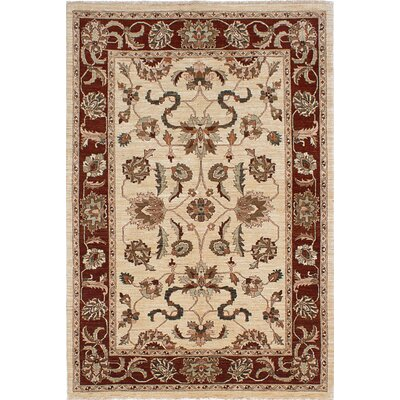 One-of-a-Kind Charlena Hand-Knotted Cream Area Rug