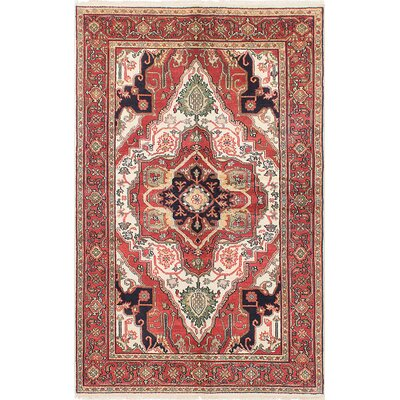 One-of-a-Kind Briggs Hand-Knotted Cream/Red Area Rug