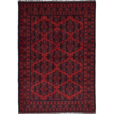 Bouldercombe Hand-Knotted Dark Red Area Rug
