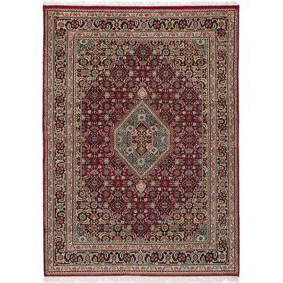 One-of-a-Kind Waddington Hand-Knotted Dark Red/Beige Area Rug