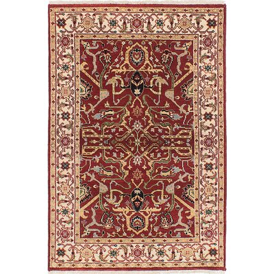 Briggs Hand-Knotted Red Rectangle Oriental Area Rug
